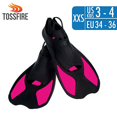 Snorkeling Fins Short Floating Training Swimming Fins for Kids Children Boys and Girls US size 1-2 with Thermoplastic Rubber Travel Fins for Swimming Scuba Diving Snorkeling Watersports – Rose - Review Goggles Surf