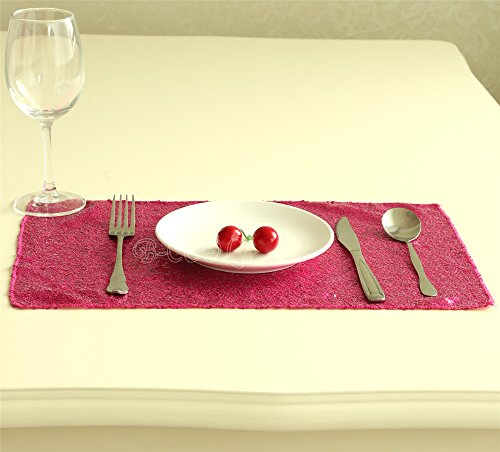 B-COOL Sequin Table Runner Fuchsia Sparkle Chrismas Placemats Square Table Mats - Size 12 x 18 Inch, 20 pieces Included