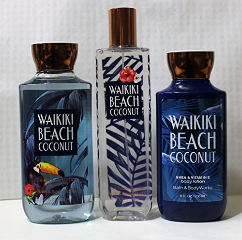 Bath and Body Works Waikiki Beach Coconut 2017 Series Shower Gel, Body Lotion, Fine Fragrance Mist Daily (Series 3 Trio)