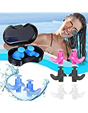 Swimming Ear Plugs, 4 Pairs Reusable Silicone Swimming Ear Plugs for Swimming Showering Bathing Surfing Snorkeling and Other Water Sports, Suitable for Adults and Kids