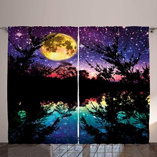 """Ambesonne Purple Curtains, Lake Moonlight Stars in Night Sky with Trees Contemporary Modern Design, Living Room Bedroom Window Drapes 2 Panel Set, 108"""" X 84"""", Dark Colors"""