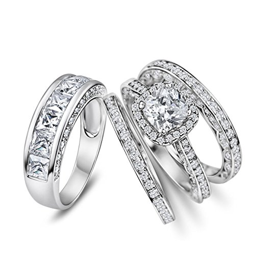His Hers 4pc Matching Halo Cushion Cut Cz Bridal Engagement Wedding Ring Set 925 Sterling Silver Size 5-13 (Her 9 His 10) by Sunee Jewelry And Gift