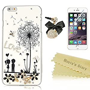 Plus Case, iphone 6 4.7 Case - Mavis's Diary 3D Handmade Bling Crystal Sparkle Rhinestone Diamond Painted Case Hard Cover for iphone 6 4.7 ('') with Soft Clean Cloth (Cute Lovers Case&Dust Plug&HD Screen Protector)