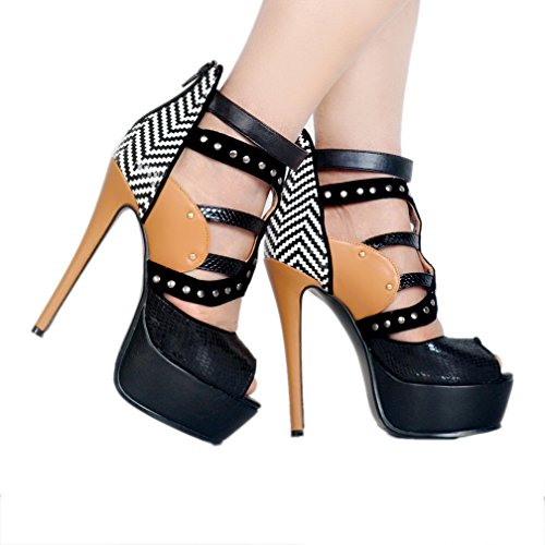 Women alto Platform Fashion Shoes toe Kolnoo Peep Nero Summer Sandali Patchwork con tacco 6qxw0d