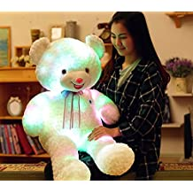 Luminous White Bear LED Nightlight Throw Pillow, Super Cute Glowing Pillow Soft Stuffed Bear Gifts Doll, 24 Inch by MAXYOYO