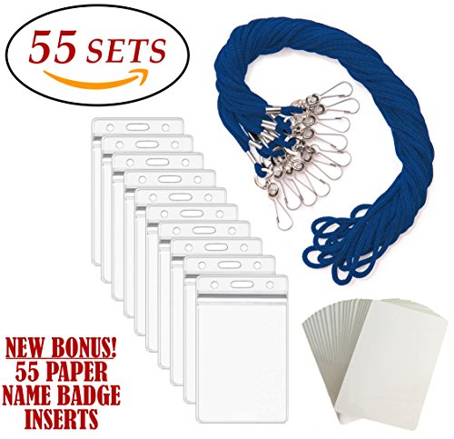 ID Badge Holders & Lanyards, 55 sets, BLUE Lanyard and VERTICAL Name Tags Hole Punched Zipper Waterproof Resealable Clear Plastic, BONUS Insert Labels Credit Card Holder For Employees Heavy Duty