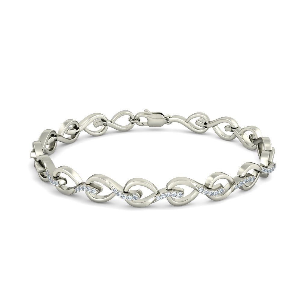 14K White Gold IJ| SI identification-bracelets Size HallMarked 0.217 cttw Round-Cut-Diamond 6.5 inches