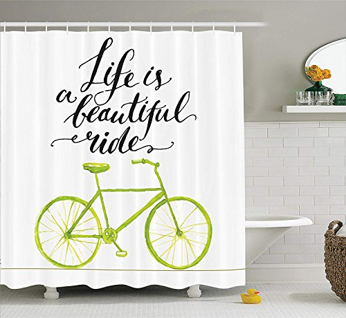 Dr-Drin Bicycle Decor Shower Curtain Set, Life is A Beautiful Bike Ride Quote Print with Pastel Color Unique Bike Graphic Work, Bathroom Accessories, 60x72 Inches, Green Black