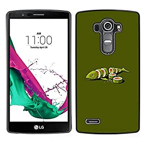 LECELL--Funda protectora / Cubierta / Piel For LG G4 -- Fish Art Green Food Maki Arte Minimalista --