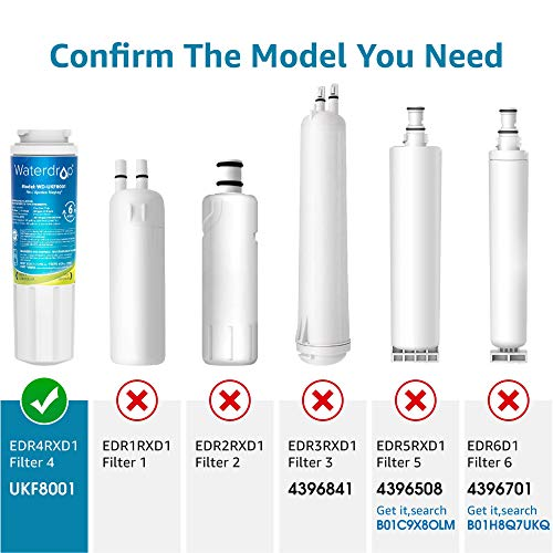 Waterdrop UKF8001 Water Filter, Compatible with Whirlpool EDR4RXD1, Filter 4, Maytag UKF8001P, UKF8001AXX-750, 4396395, 469006, PUR, Puriclean II, 46-9006, Pack of 3 (package may vary)
