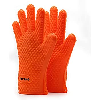 New Hot Sale Oven Mitts Gloves Resistant MAX Heat Silicone BBQ Grilling Gloves for Cooking Baking Barbecue Potholder-Orange