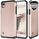 LG Tribute HD Case, LG X Style LS676 Case With TJS Tempered Glass Screen Protector Included, Ultra Thin Slim Hybrid Shockproof Drop Protection Impact Rugged Hard Armor Case Cover (Black/Rose Gold)