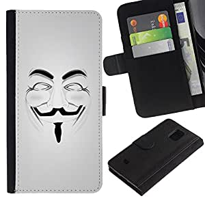For Samsung Galaxy S5 Mini / Galaxy S5 Mini Duos / SM-G800 !!!NOT S5 REGULAR! ,S-type® Anonymous Mask Guy Fawkes Freedom - Dibujo PU billetera de cuero Funda Case Caso de la piel de la bolsa protectora