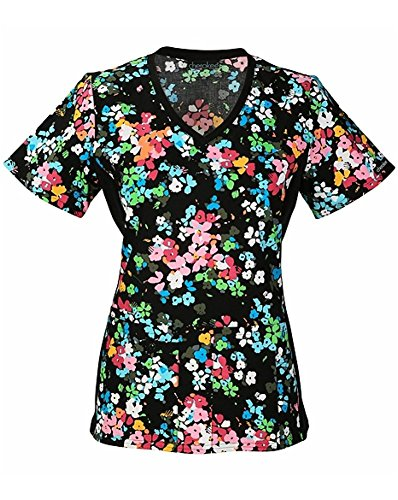 Flexibles by Cherokee Women's Soft Knit Side Floral Print Scrub Top Small Print (1912 Print)