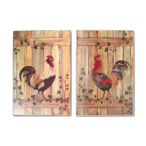Roosters On Fence Oversized Kitchen Wall Plaque Set - Canvas Rooster Print Set