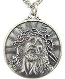 Silver Tone 1-1/8-Inch Thorn Crown Ecce Homo Sorrowful Jesus Christ Head Medal