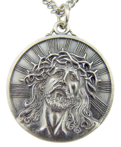 Silver Toned Base Thorn Crown Ecce Homo Sorrowful Jesus Christ Head Medal, 1 1/8 (Jesus Christ Head)