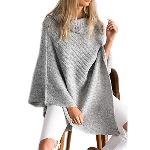 Hand Knit Cropped (Women's Chic Turtleneck Soft Casual Knitted Poncho Pullovers Sweater)