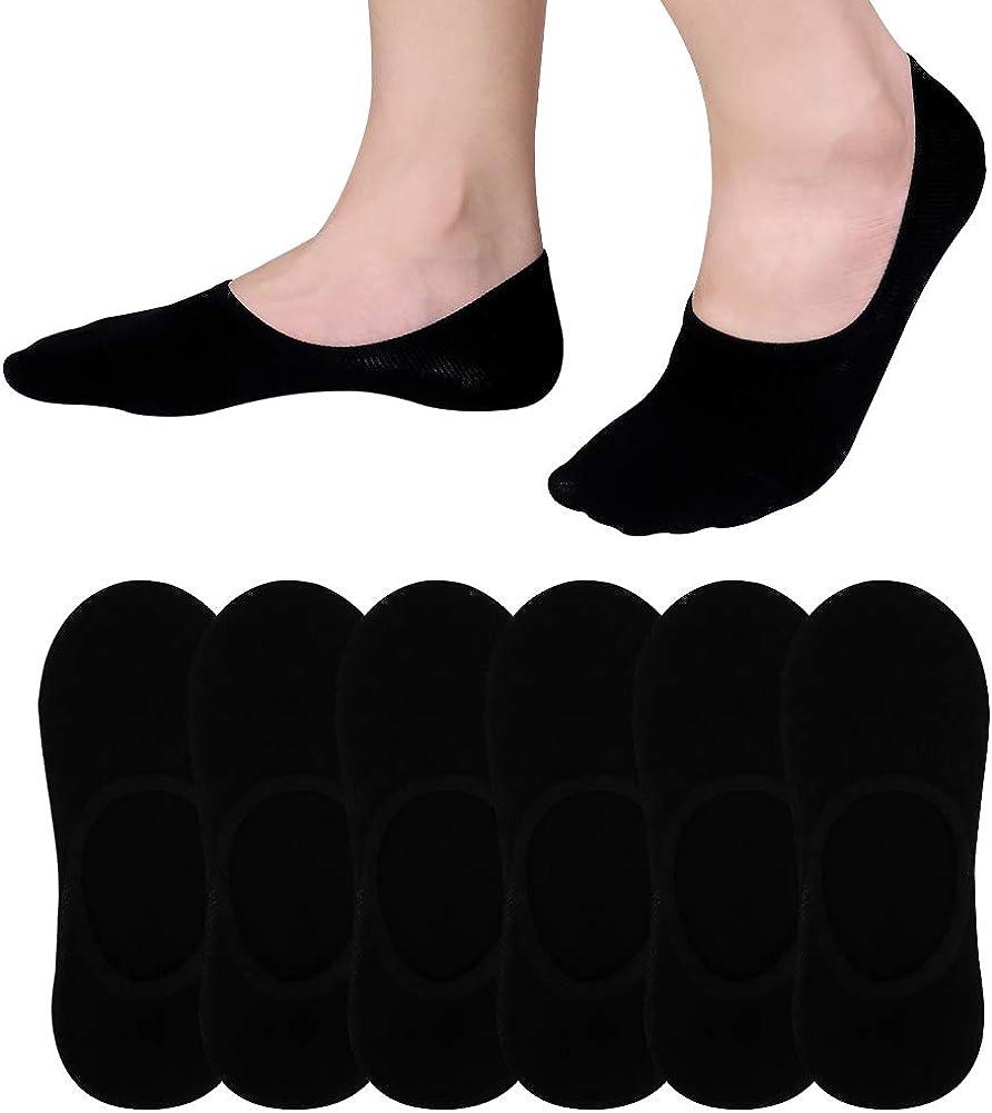 6 Pairs No Show Socks Women Men Low Cut Non-Slip Casual Athletic Cotton Socks