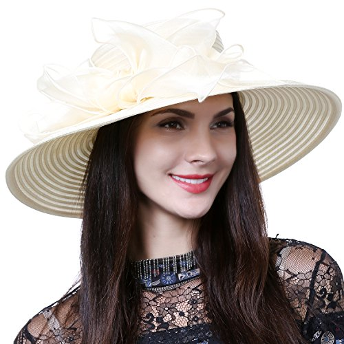 (Lightweight Kentucky Derby Church Dress Wedding Hat #S052 (S062-Beige) )