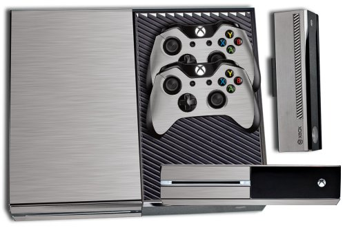 Designer Skin Sticker for the Xbox One Console With Two Wireless Controller Decals- Steel