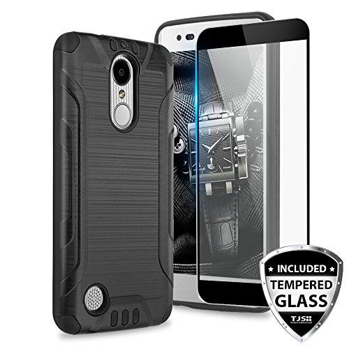 TJS Case for LG Aristo 2/Aristo 2 Plus/Aristo 3/Aristo 3 Plus/Tribute Dynasty/Tribute Empire/Fortune 2/Rebel 3 LTE [Full Coverage Tempered Glass Screen Protector] Metallic Brush Phone Cover (Black)