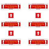 """IGNIXIA (Pack of 6) + 4 Free Arrows Social Distancing Floor Signs, Anti-Slip Floor Over Lamination Decals for 6 feet Distance, (4"""" x 12"""") Inch Stand Here Floor Stickers for Super Stores, Offices"""