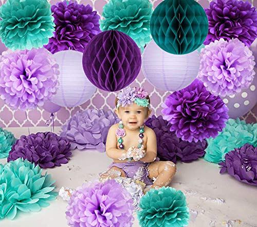 Mermaid Party Supplies/16pcs Mermaid Party Decorations Teal Purple Lavender Tissue Pom Pom Paper Lantens Honeycomb Ballls Frozen Theme Party Supplies Teal Mermaid Baby Shower Decorations]()
