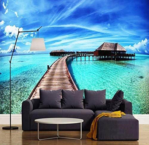 Wkxzz 海の見える3D写真の壁紙、リビングルームのソファ、寝室、テレビ、背景の壁、壁画、防水壁紙、家の装飾壁画-120X100Cm