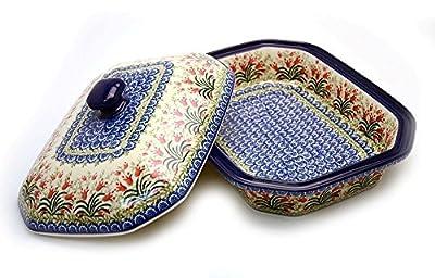 Polish Pottery Baker - Rectangular Covered - Large - Crimson Bells