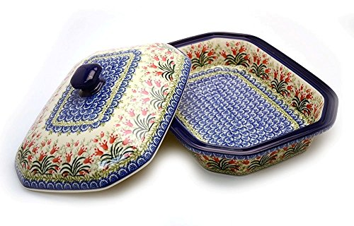 Polish Pottery Baker - Rectangular Covered - Large - Crimson Bells by Polish Pottery Gallery