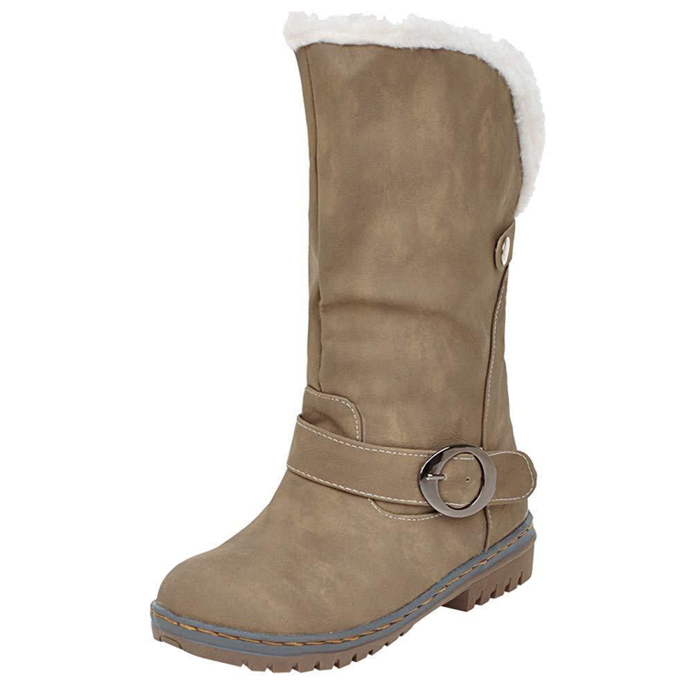 ZHRUI Weihnachten Weihnachten Weihnachten Frauen Schneestiefel Winter Wildleder Schnalle Schuhe (Farbe   Khaki, Größe   UK 6.5) cb94f6