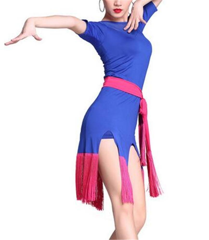 Bleu peiwen Formation de Danse Latine de Femme Tenue à la Perruque Tenue de Danse Jupe Spectacle M