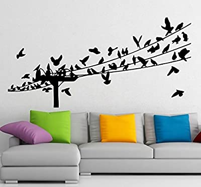 Housewares Wall Vinyl Decal Many Birds on Electric Wire Home Art Decor Kids Nursery Removable Stylish Sticker Mural Unique Design for Any Room