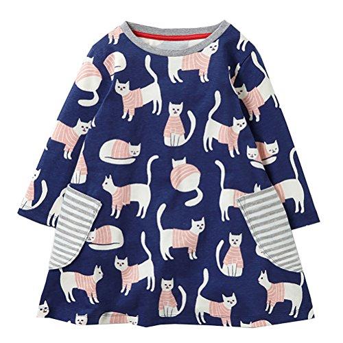 Kidstree Girls' Cute Cat Pattern long Sleeve Dress 4T