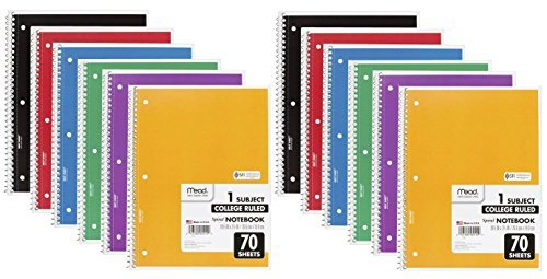 (Mead Spiral Notebook, 1 Subject, 70 College Ruled Sheets, Assorted Colors, 12 Pack)