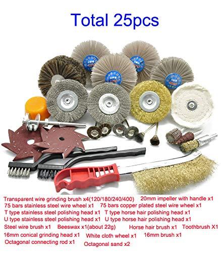NW 25pcs Polishing and Grinding Tool Accessories Kit Steel Wire Brush Tool Set Carving Brush Polishing Kit