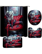 """4 pcs Harley Davidson Shower Curtain Bath Room Sets 3D Shower Curtain Sets with Rugs Toilet Lid Cover and Bath Mat, hower Curtains with 12 Hooks (65"""" X 70"""")"""