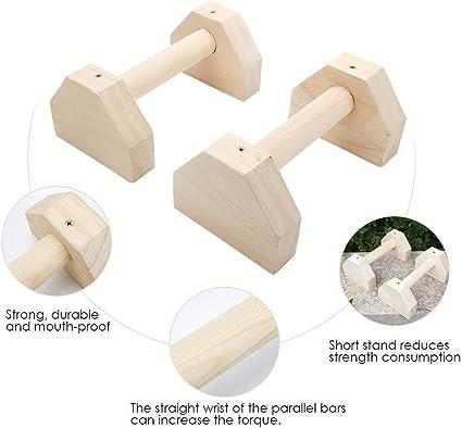 de t/ête Fitness de Fitness KEBY Lot de 2 Barres de parallettes en Bois avec poign/ées Simples et Doubles pour Yoga Exercices de Yoga