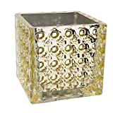 Royal Imports Flower Glass Vase Decorative Centerpiece for Home or Wedding Elegant Dimple Effect Cube, 6' Tall, 6'x6' Opening, Champagne Gold