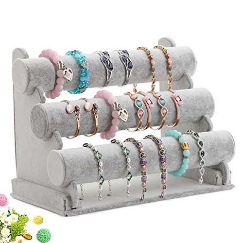 Wuligirl Triple Bracelet Holder Jewelry Display Stand Watch Bangle Bar Necklace Storage Organizer Gray ( Ice Velvet 3 Tier )