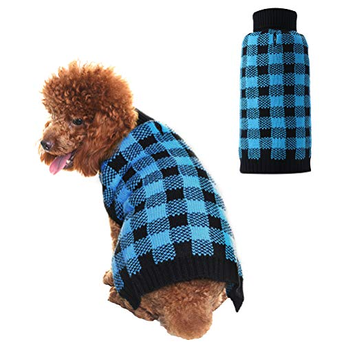 Black Dog Knit Sweater - PUPTECK Dog Sweater Plaid Pet Cat Winter Knitwear Warm Clothes Blue & Black Extra Small