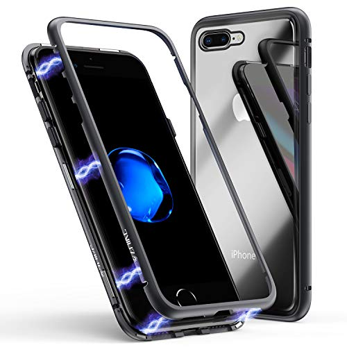(iPhone 8 Plus Case,iPhone 7 Plus Case, ZHIKE Magnetic Adsorption Case Ultra Slim Metal Frame Tempered Glass Back with Built-in Magnet Flip Cover for Apple iPhone 7 Plus/8 Plus (Clear Black))
