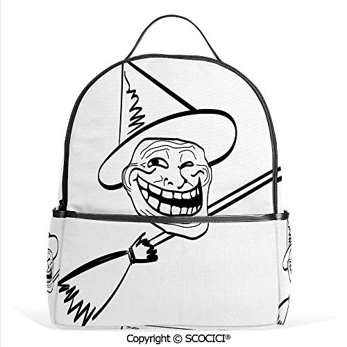 3D Printed Pattern Backpack Halloween Spirit Themed Witch Guy Meme Lol Joy Spooky Avatar Artful Image,Black White,Adorable Funny Personalized Graphics]()