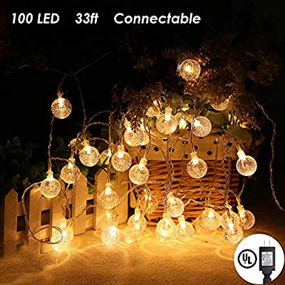 MOICO Globe String Lights, 33Ft 100 LED 8 Modes Plug in Twinkle Fairy Lights, Waterproof Decorative Lights for Outdoor, Bedroom, Patio, Garden, Christmas, Wedding, Party, Connectable (Warm White)