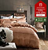 Solid Champagne Duvet Cover Set Queen Size Luxury European Style Bedding Set Romantic Wedding Duvet Cover Set with Delicate Pinch Pleated Design, Hotel Quality Autumn Winter Duvet Bedding Cover Set