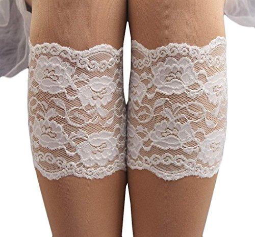 (Creazy® Women Stretch Lace Boot Leg Cuffs Soft Laced Boot Socks (White))
