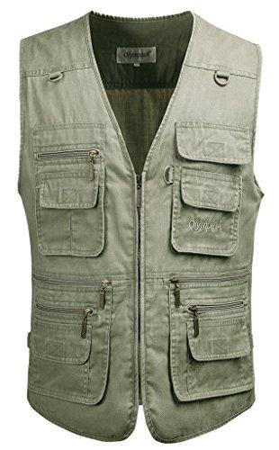 Mrignt Men's Oversize Pockets Travels Sports Vest(Outdoor Coat)(US M(Asia XL),Off White)