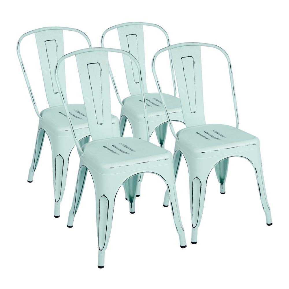 Furmax Distressed Blue Metal Chair with Back,Indoor Outdoor Tolix Chic Dining Bistro Cafe Side Chairs