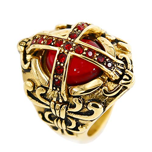(eejart Crusader Templar Cross Christian Rings Ruby Cubic-Zirconia 316L Stainless Steel Ring Size 7 to 15 (Gold-red-14))